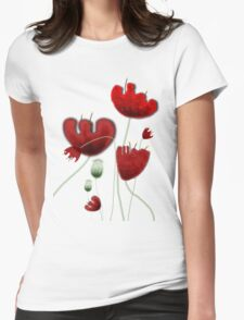 Poppy red granate sexy landscape summer france bloom garden t-shirt Womens Fitted T-Shirt