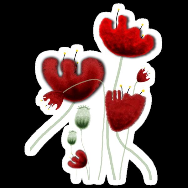Poppy red granate sexy landscape summer france bloom garden t-shirt by rupydetequila