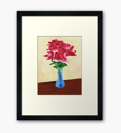 Vase of Red Flowers Framed Print