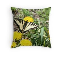 Tiger Swallowtail on Dandelion Flowers Throw Pillow