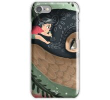 Girl doodling on her sky whale iPhone Case/Skin