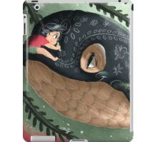 Girl doodling on her sky whale iPad Case/Skin