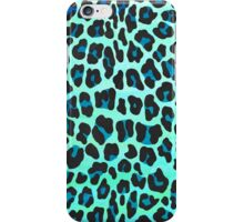 Leopard Black and Teal Print iPhone Case/Skin