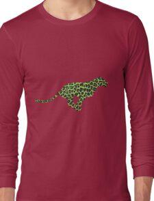 Leopard Black and Green Print Long Sleeve T-Shirt
