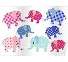 Baby Elephant Pattern Poster