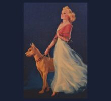 Vintage Picture- Elegant woman with her Dog by michel bazinet