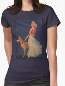 Vintage Picture- Elegant woman with her Dog Womens Fitted T-Shirt