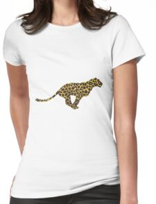 Leopard Brown and Yellow Print Womens Fitted T-Shirt