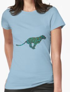 Leopard Brown and Teal Print Womens Fitted T-Shirt