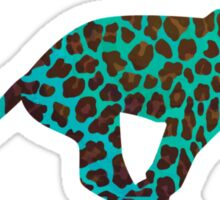 Leopard Brown and Teal Print Sticker