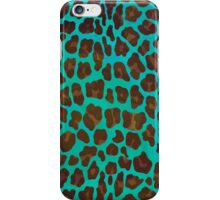 Leopard Brown and Teal Print iPhone Case/Skin