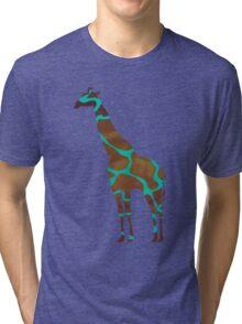 Giraffe Brown and Teal Print Tri-blend T-Shirt
