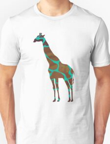 Giraffe Brown and Teal Print T-Shirt