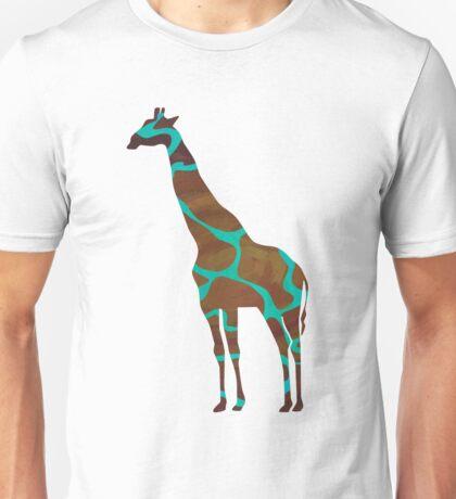 Giraffe Brown and Teal Print Unisex T-Shirt