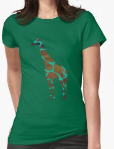 Giraffe Brown and Teal Print Womens Fitted T-Shirt