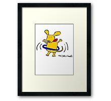 Yellow Dog Blue Hoop Framed Print