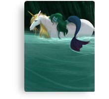 The Mermaid and the Unicorn Canvas Print
