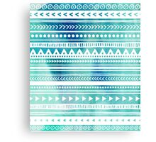 Blue Watercolor Tribal Pattern Canvas Print