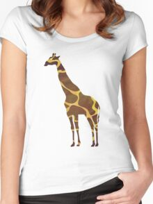 Giraffe Brown and Yellow Print Women's Fitted Scoop T-Shirt