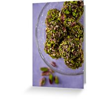 Chocolate truffles with balsamico and pistachio nuts  Greeting Card