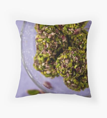 Chocolate truffles with balsamico and pistachio nuts  Throw Pillow