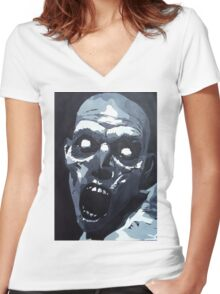 Hungry Zombie- Abstract Zombie Painting Women's Fitted V-Neck T-Shirt