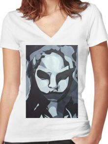 Sinister Zombie- Zombie Girl Painting  Women's Fitted V-Neck T-Shirt