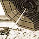 Beach Umbrella in Sepia by Bernadette Claffey