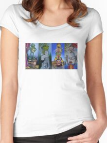 Muppets Haunted Mansion Stretching Room Portraits Women's Fitted Scoop T-Shirt
