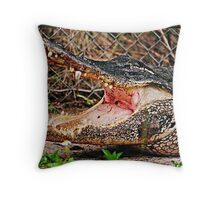 Fierce Gator on the Wrong Side of the Fence Throw Pillow