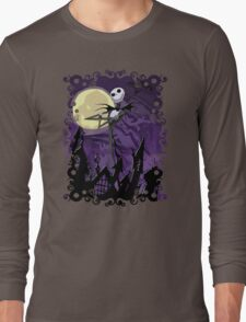 Halloween Skinny Ghost Long Sleeve T-Shirt