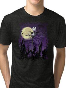 Halloween Skinny Ghost Tri-blend T-Shirt