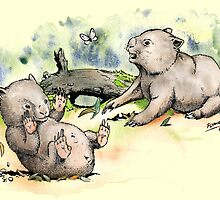 Playful little wombats. by SnakeArtist