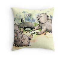 Playful little wombats. Throw Pillow