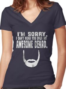 Awesome Beard Women's Fitted V-Neck T-Shirt