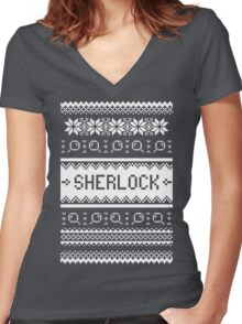 A Very Sherlock Christmas Women's Fitted V-Neck T-Shirt