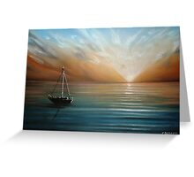 Sunset Yachting Greeting Card