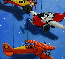Flying Dreams - airplane painting by LindaAppleArt