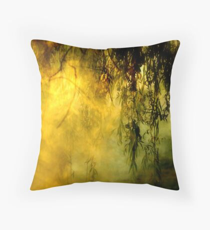 Misty Willow Throw Pillow
