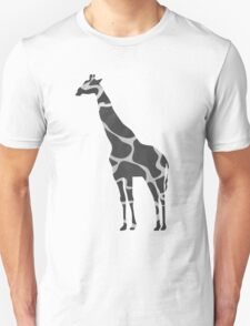 Giraffe Black and Light Gray Print T-Shirt