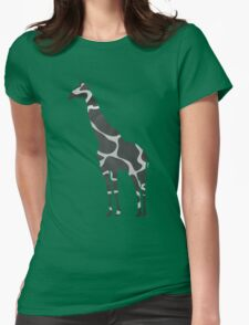 Giraffe Black and Light Gray Print Womens Fitted T-Shirt