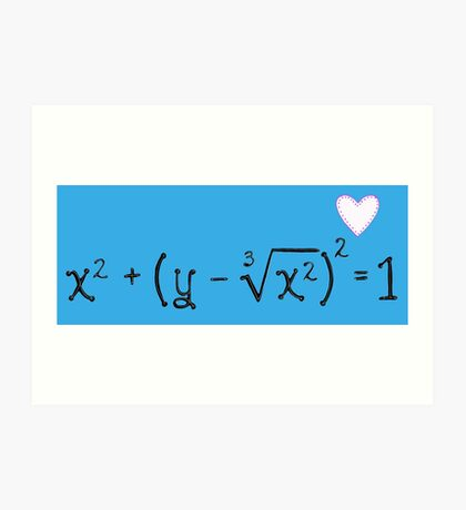 Math heart (blue) Art Print