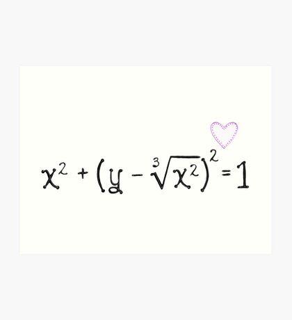 Math heart (white) Art Print