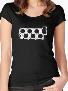 VR6 Cylinder Head (White Print) Women's Fitted Scoop T-Shirt