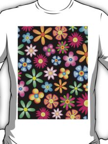 Spring Flowers Colorful Naif Design T-Shirt