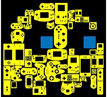 Pac Man Ghost Controllers (blue eyes) Photographic Print