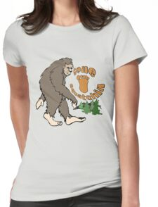 Gone Squatchin Bigfoot Womens Fitted T-Shirt