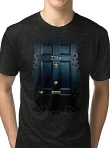 Haunted Blue Door with 221b number Tri-blend T-Shirt