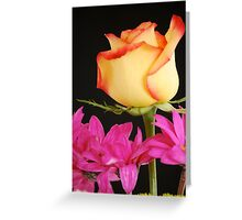 Yellow Rose with Pink Flowers Greeting Card