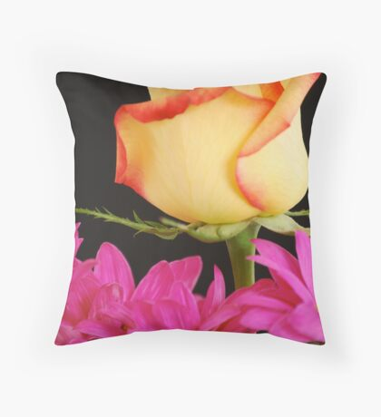 Yellow Rose with Pink Flowers Throw Pillow
